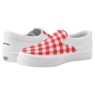 Plaid Red White Slip-On Sneakers