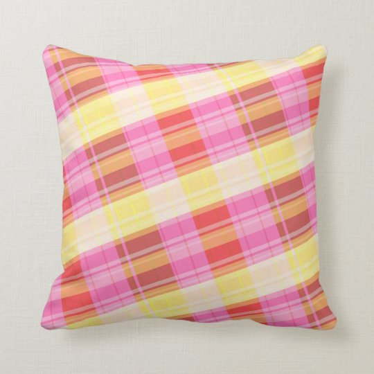 plaid red yellow and orange pillow