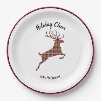 Plaid Reindeer Holiday Cheer Paper Plate