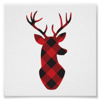 Plaid reindeer holiday wall art