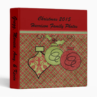 Plaid Ribbon and Ornaments Custom Holiday Binder