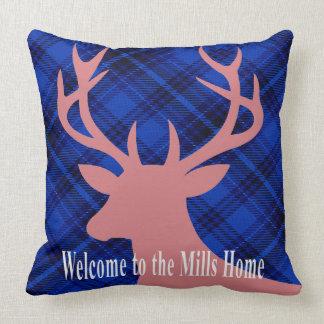 Plaid Rustic Deer Head Silhouette | mauve blue Throw Pillow