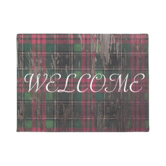 plaid rustic wood holiday christmas welcome mat