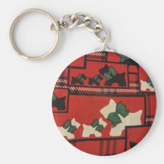 Plaid Scotties & Westies Basic Round Button Keychain