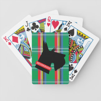 Plaid Scottish Terrier Personalized Playing Cards