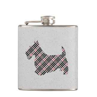 Plaid Scottish Terrier Scotty Dog Hip Flask
