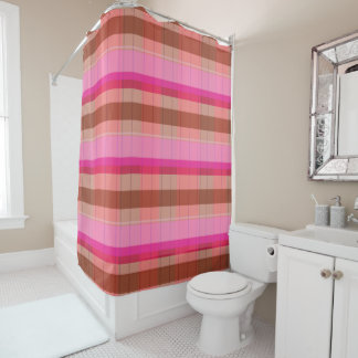 Plaid Shower Curtain pinks purple