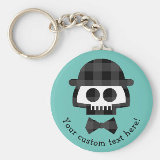 Plaid Skull with Bolo and Bowtie Keychain