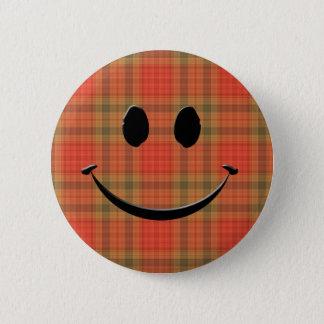 Plaid Smile 2 Inch Round Button
