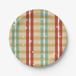 Plaid Snow Many Cookies Paper plates 7 Inch Paper Plate