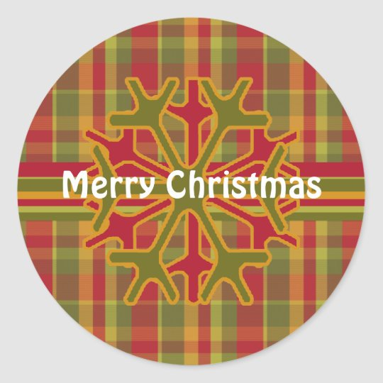 Plaid & Stripes Snowflake Sticker  Red Green Tan