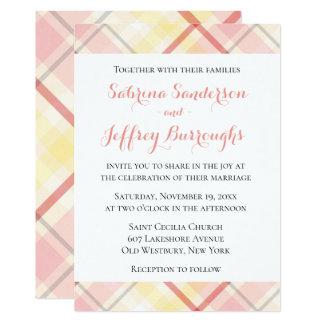 Plaid Stripes Wedding Invite Pink Yellow Argyle