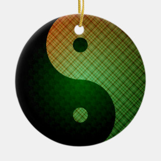 Plaid Sunshine Yin Yang Ornament