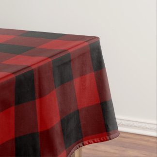 Plaid tablecloth black and red