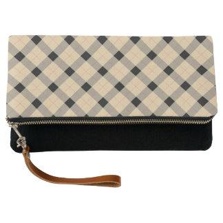 Plaid / tartan  pattern beige and black clutch