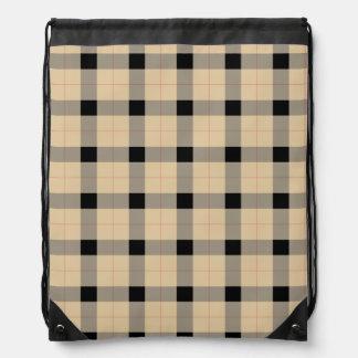Plaid / tartan  pattern beige and black drawstring bag