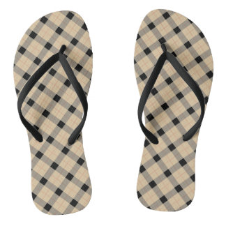 Plaid / tartan  pattern beige and black flip flops
