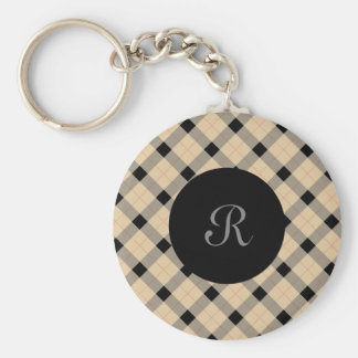 Plaid / tartan  pattern beige and black keychain