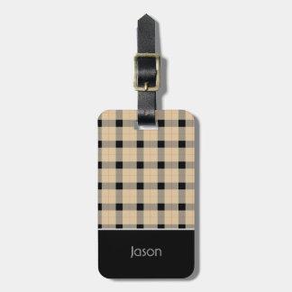 Plaid / tartan  pattern beige and black luggage tag