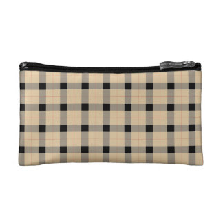 Plaid / tartan  pattern beige and black makeup bags