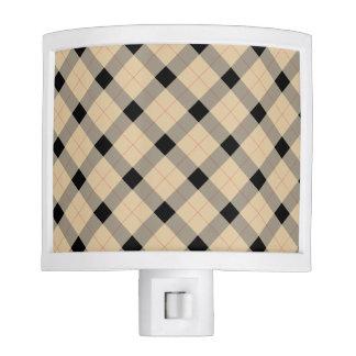 Plaid / tartan  pattern beige and black night light