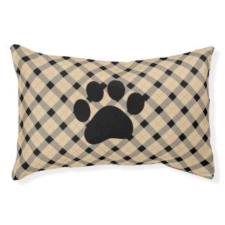 Plaid / tartan  pattern beige and black pet bed