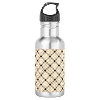 Plaid /tartan pattern brown and Black 532 Ml Water Bottle