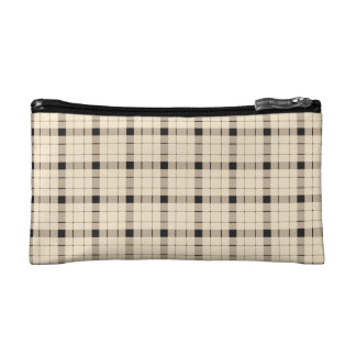 Plaid /tartan pattern brown and Black Cosmetic Bag