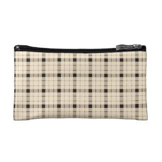 Plaid /tartan pattern brown and Black Cosmetic Bag
