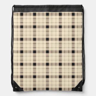 Plaid /tartan pattern brown and Black Drawstring Bag