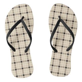 Plaid /tartan pattern brown and Black Flip Flops