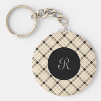 Plaid /tartan pattern brown and Black Keychain