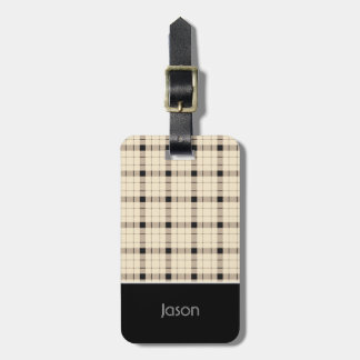 Plaid /tartan pattern brown and Black Luggage Tag