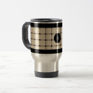 Plaid /tartan pattern brown and Black Travel Mug