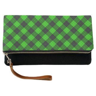 Plaid /tartan pattern green and Black Clutch
