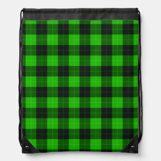 Plaid /tartan pattern green and Black Drawstring Bag