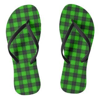 Plaid /tartan pattern green and Black Flip Flops