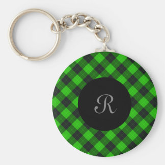 Plaid /tartan pattern green and Black Keychain