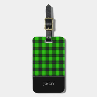 Plaid /tartan pattern green and Black Luggage Tag