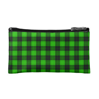 Plaid /tartan pattern green and Black Makeup Bags