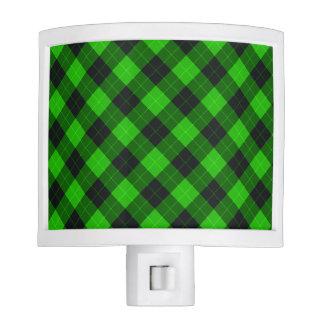 Plaid /tartan pattern green and Black Nite Lites