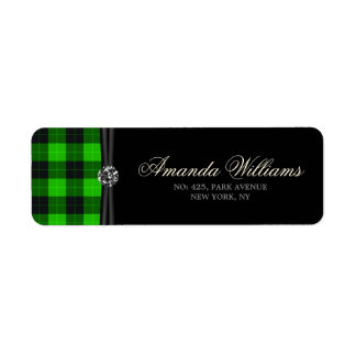 Plaid /tartan pattern green and Black Return Address Label