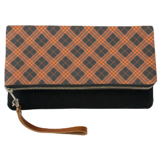 Plaid /tartan pattern orange and Black Clutch