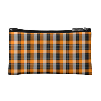 Plaid /tartan pattern orange and Black Cosmetics Bags