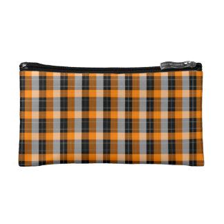 Plaid /tartan pattern orange and Black Cosmetics Bags
