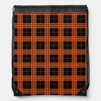 Plaid /tartan pattern orange and Black Drawstring Bag