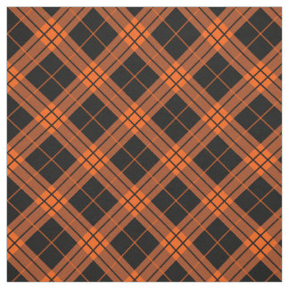 Plaid /tartan pattern orange and Black Fabric