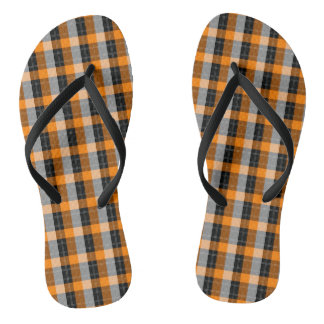 Plaid /tartan pattern orange and Black Flip Flops