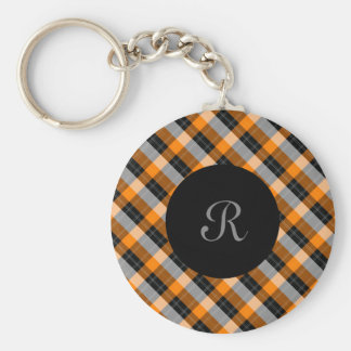 Plaid /tartan pattern orange and Black Keychain