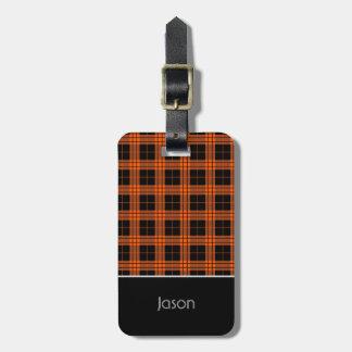 Plaid /tartan pattern orange and Black Luggage Tag